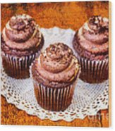 Chocolate Caramel Cupcakes Wood Print