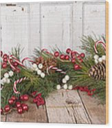 Christmas Berries On Wooden Background Wood Print