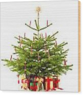 Christmas Tree Decorated With Presents  Wood Print