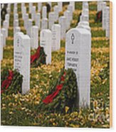 Christmas Wreaths Laid At The Arlington Cemetery Wood Print