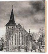 Church And Graveyard At Dusk Wood Print