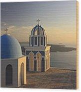 Churches At Sunset Firostefani Santorini Cyclades Greece  Wood Print