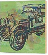 Classical Car Stylized Pop Art Poster Wood Print