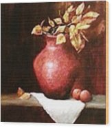 Clay Vessel And Peaches Wood Print