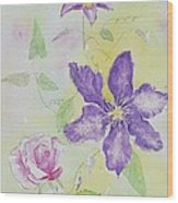 Clematis And The Rose Wood Print