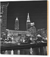Cleveland In Black And White Wood Print