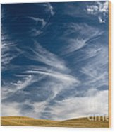 Clouds And Field Wood Print