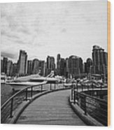 coal harbour marina and high rise apartment condo blocks in the west end Vancouver BC Canada Wood Print by Joe Fox