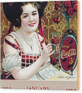Coca - Cola Vintage Calendar Wood Print