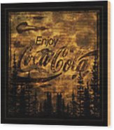Coca Cola Wooden Sign Wood Print