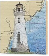 Cockspur Island Lighthouse Ga Nautical Chart Map Art Cathy Peek Wood Print