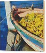 Colorful Boat Wood Print