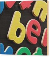 Colorful Letters Wood Print