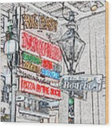 Colorful Neon Sign On Bourbon Street Corner French Quarter New Orleans Colored Pencil Digital Art Wood Print