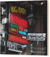 Colorful Neon Sign On Bourbon Street Corner French Quarter New Orleans Watercolor Digital Art Wood Print