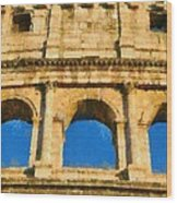 Colosseum In Rome Under Late Afternoon Light Wood Print