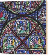 Colourful Stained Glass Window In Wood Print
