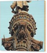 Columbus Column On The Barcelona Habour With High Details Wood Print