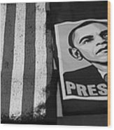 Commercialization Of The President Of The United States Of America In Black And White  Wood Print by Rob Hans