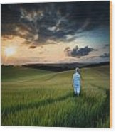Concept Landscape Young Boy Walking Through Field At Sunset In S Wood Print by Matthew Gibson