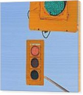 Confusing Green Red Traffic Lights Sky Copyspace Wood Print