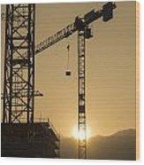 Construction Cranes Wood Print