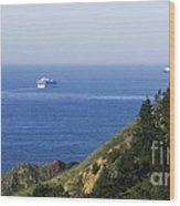 Container Ship On Open Water Wood Print