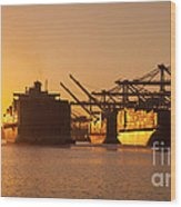 Container Ships Docked In Port Of Oakland Wood Print