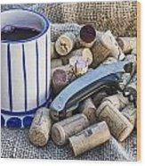 Corks With Corkscrew Wood Print