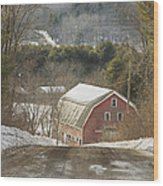 Country Road And Barn In Winter Maine Wood Print
