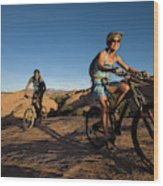 Couple Mountain Biking, Moab, Utah Wood Print