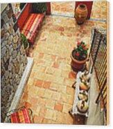 Courtyard Of A Villa Wood Print by Elena Elisseeva