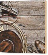Cowboy Gear Wood Print