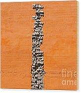 Crack Of Bricks In Orange Wall Wood Print