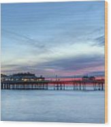 Cromer Pier At Sunrise On English Coast Wood Print