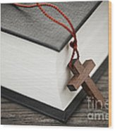 Cross And Bible Wood Print by Elena Elisseeva