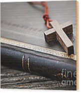 Cross On Bible Wood Print by Elena Elisseeva