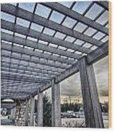 Cultured Stone Terrace Trellis Details Near Park In A City  Wood Print