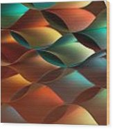 Curved Colorful Sheets Paper With Mirror Reflexions Wood Print
