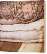Cute Baby Sleeping Wood Print
