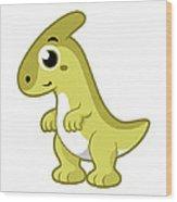 Cute Illustration Of A Parasaurolophus Wood Print