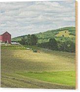 Cutting Hay In Summer On Maine Farm Wood Print