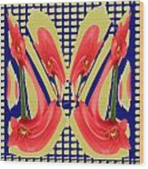 Dancing Tulip Red Exotic Flower Petal Based Wave Pattern  Created By Navinjoshi Reiki Healing Master Wood Print