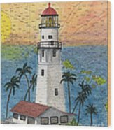 Diamond Head Lighthouse Hi Nautical Chart Map Art Wood Print
