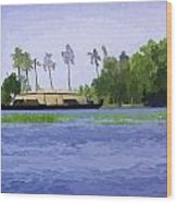 Digital Oil Painting - A Houseboat On Its Quiet Sojourn Through The Backwaters Wood Print