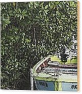 Docked By The Mangrove Trees Wood Print