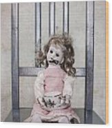 Doll With Tea Cup Wood Print