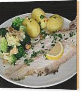 Dover Sole Fish Dinner Wood Print