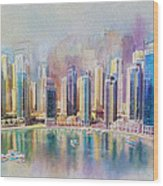 Downtown Dubai Skyline Wood Print