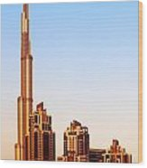 Dubai Downtown On Sunset Wood Print